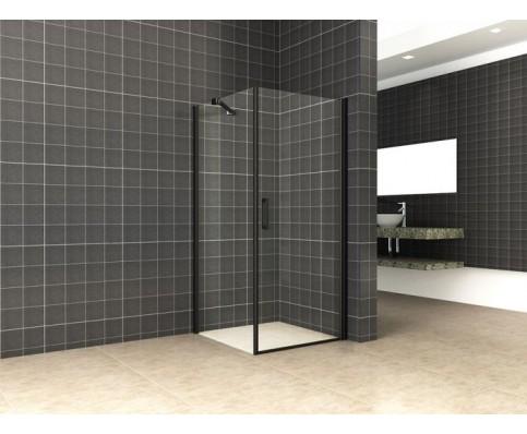 swingdeur met zijwand UNI 1000x1000x2000 mm. mat-zwart 8 mm NANO