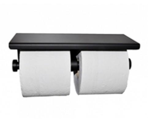 Brush dubbele toiletrolhouder mat-zwart