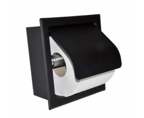 Sunk inbouw toiletrolhouder met klep mat-zwart