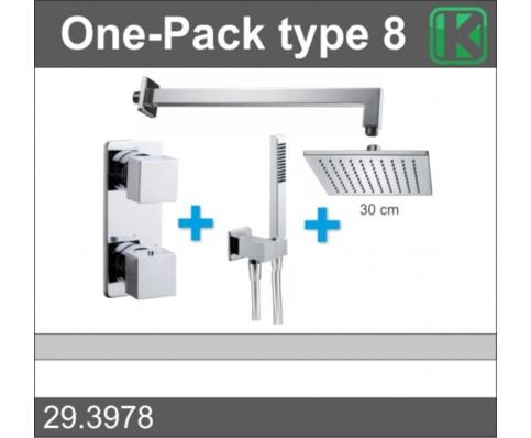 One-Pack inbouwthermostaatset vierkant type 8 (30 cm)