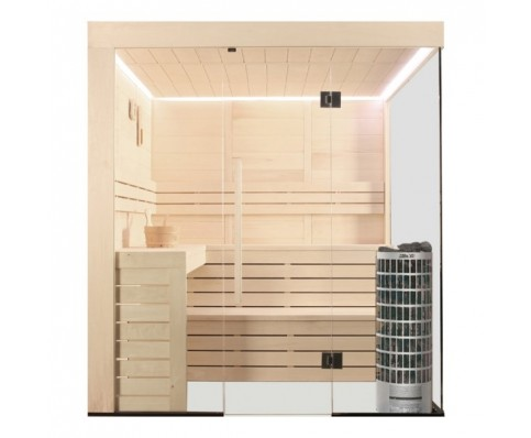 AWT Sauna E1205C populier 207x168 cm. 9kW Cilindro