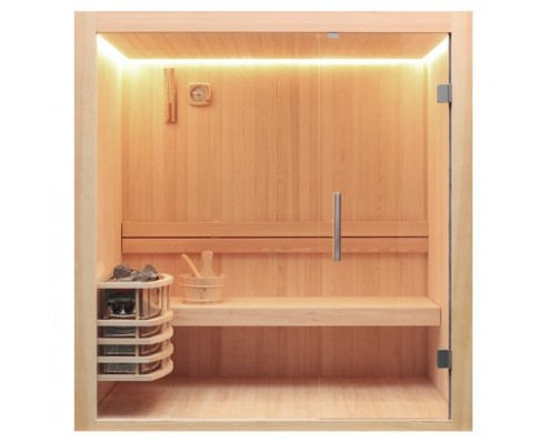 AWT Sauna E1803C pijnboomhout 120x120 cm. 6kW Vega