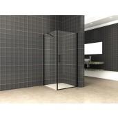 swingdeur met zijwand UNI 900x900x2000 mm. mat-zwart 8 mm NANO