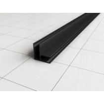 hoekprofiel tbv glaswand 1 cm 200 cm mat-zwart