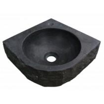 Hardstenen hamerslag hoekfontein 30x30x10 cm.