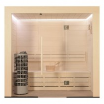 AWT Sauna E1203A populier 202x133 cm. 9kW Cilindro
