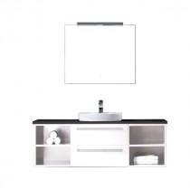Badkamermeubel EAGO Neapel NA-1400 wit met zwart blad