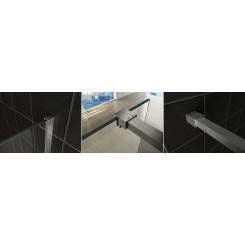 Wiesbaden Slim profielset met stabilisatiestang 120 cm. geborsteld staal
