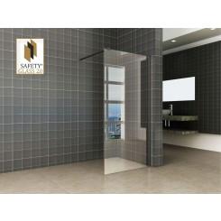 Wiesbaden inloopdouche met Safety Glass met zwart muurprofiel 1000x2000 mm. 10 mm. NANO