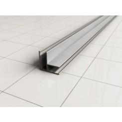 hoekprofiel tbv glaswand 1 cm 200 cm geborsteld staal