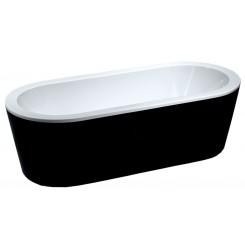 Nero vrijstaand acryl ligbad 178 x 80 met waste zwart/wit