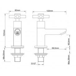 Wiesbaden Asmaro KIWA toiletkraan Ker.  1/2 geb.staal