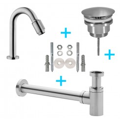 Set Victoria toiletkraan + afvoer/bev. geb.staal