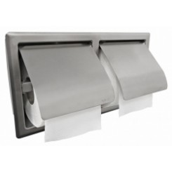Wiesbaden 304-dubbele inbouw toiletrolhouder met klep RVS