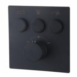 Caral KLIK afbouwdeel thermostaat 3 weg mat-zwart