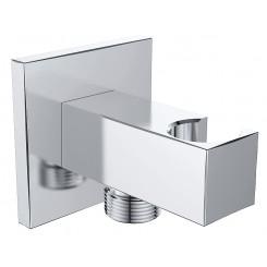"Luxe muur doucheaansluiting met opsteek vierkant 1/2"" chroom"