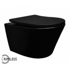 Wiesbaden Vesta rimless wandcloset + Shade zitting mat-zwart
