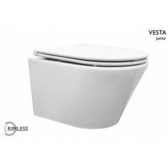 Wiesbaden Vesta-Junior rimless wandcloset 47 cm met Flatline zitting