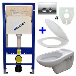 Geberit UP 100 + Neptunus WC + Neptunus zitting + Delta 21 glans chroom