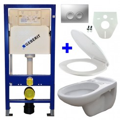 Geberit UP 100 + Neptunus WC + Neptunus ziting + Delta 21 mat chroom
