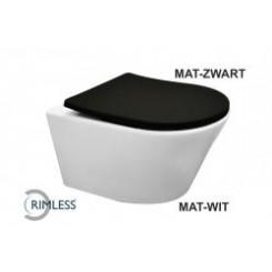 Wiesbaden Vesta rimless wandcloset mat-wit met Shade zitting mat-zwart