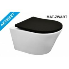 Aktieset Vesta wandcloset wit + Shade zitting mat-zwart