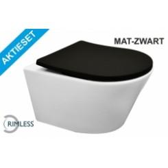 Aktieset Vesta Rimless wandcloset wit + Shade zitting mat-zwart