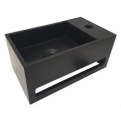 Solid Surface fontein & handdoekrek matzwart rechts 356x203x159 mm.