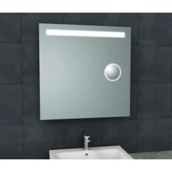 Tigris spiegel met LED verlichting en scheerspiegel 800x800 mm.