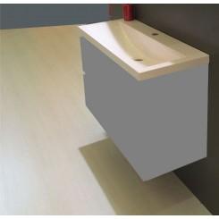 Wiesbaden wastafel 100 cm x 36 cm een kraangat wit