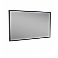 Rechthoekige condensvrije LED-spiegel 1000x600 mm. matzwart