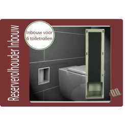 Reserve toiletrolhouder inbouw rvs