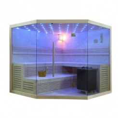 EO-SPA Sauna B1101C licht pijnboom 180x180 cm. 9kW EOS BiO-MAX