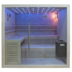 EO-SPA Sauna B1102B licht pijnboom 200x170 cm. 9kW EOS BiO-Thermat