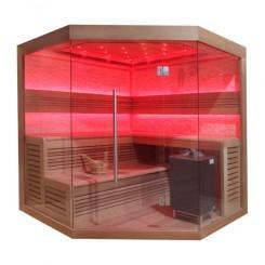 EO-SPA Sauna B1242 XL red cedar 250x250 cm. 12kW EOS Bio-Max