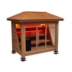 EO-SPA Sauna LT1502B rood Ceder 300x250 cm. 10.8 kW Vitra Combi