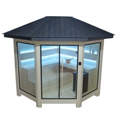 EO-SPA Sauna LT1101B populier 300x300 cm. 10.8 kW Vitra Combi