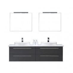 Badkamermeubel EAGO Neapel NA-1600+ donkergrijs wit blad