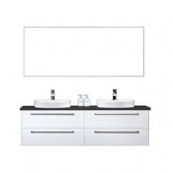 Badkamermeubel EAGO Neapel NA-1600 wit met zwart blad