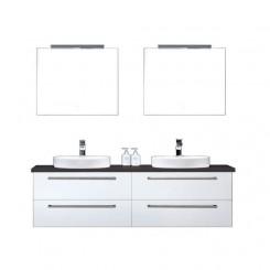 Badkamermeubel EAGO Neapel NA-1600+ wit met zwart blad