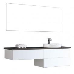 Badkamermeubel EAGO Toscana TC-1601 wit met zwart blad